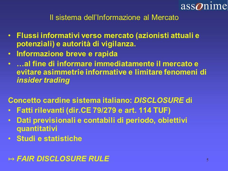 5 Il sistema dellInformazione al Mercato Flussi informativi verso mercato (azionisti attuali e potenziali) e autorità di vigilanza.