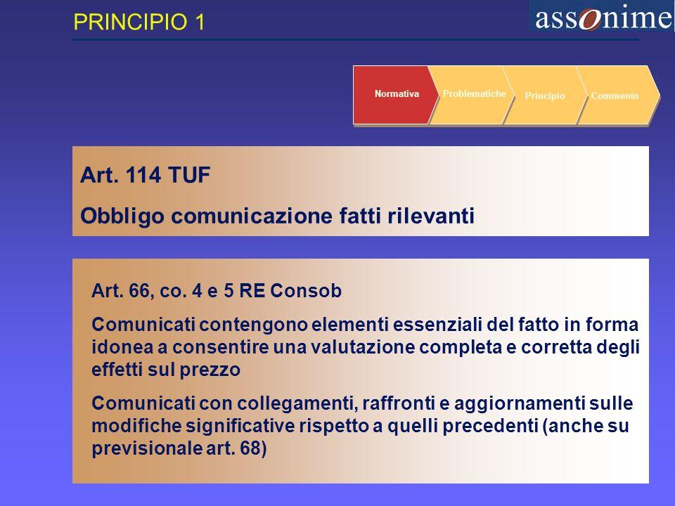 6 Art. 114 TUF Obbligo comunicazione fatti rilevanti NormativaProblematiche PrincipioCommento Art.