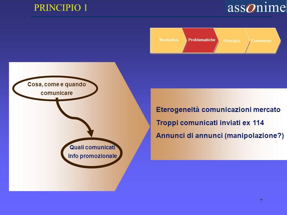 7 NormativaProblematiche PrincipioCommento Cosa, come e quando comunicare Quali comunicati Info promozionale Eterogeneità comunicazioni mercato Troppi comunicati inviati ex 114 Annunci di annunci (manipolazione ) PRINCIPIO 1