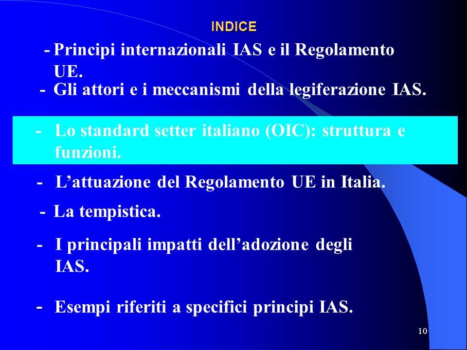 10 INDICE -Gli attori e i meccanismi della legiferazione IAS.