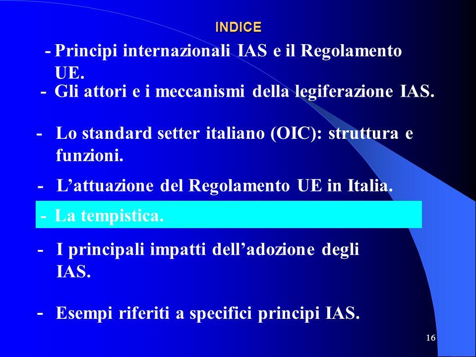 16 INDICE -Gli attori e i meccanismi della legiferazione IAS.