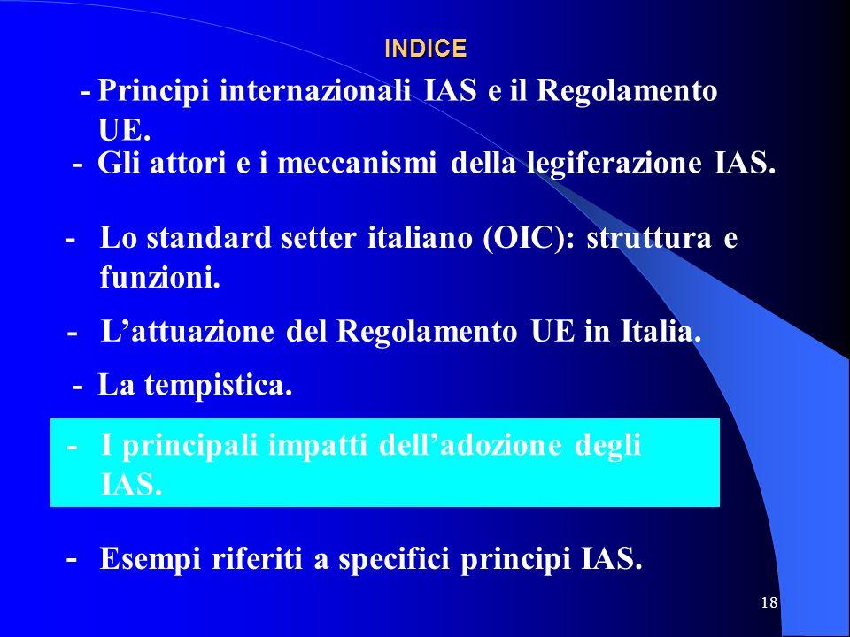 18 INDICE -Gli attori e i meccanismi della legiferazione IAS.
