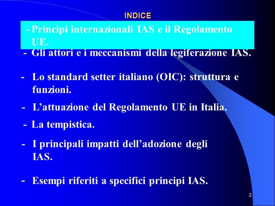 2 INDICE -Gli attori e i meccanismi della legiferazione IAS.