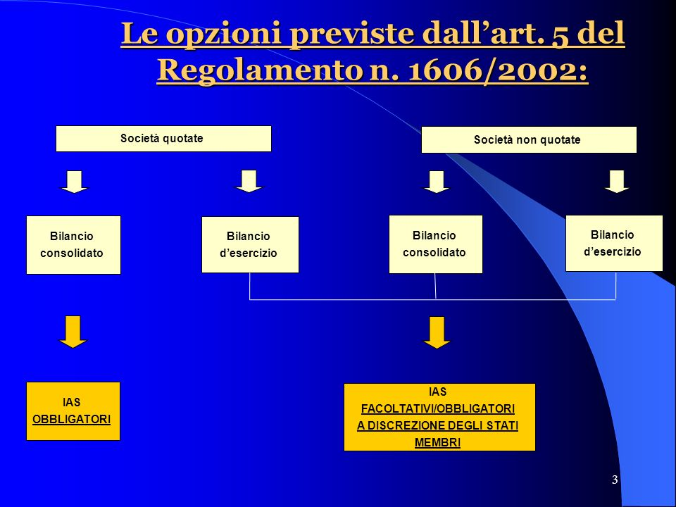 3 Le opzioni previste dallart. 5 del Regolamento n.