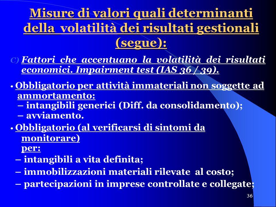 36 Misure di valori quali determinanti della dei risultati gestionali (segue): Misure di valori quali determinanti della volatilità dei risultati gestionali (segue): C) Fattori che accentuano la volatilità dei risultati economici.