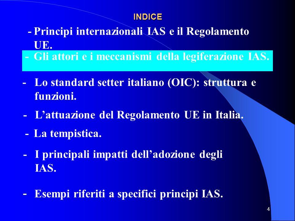 5 Gli attori e i meccanismi della legiferazione in materia di IAS.