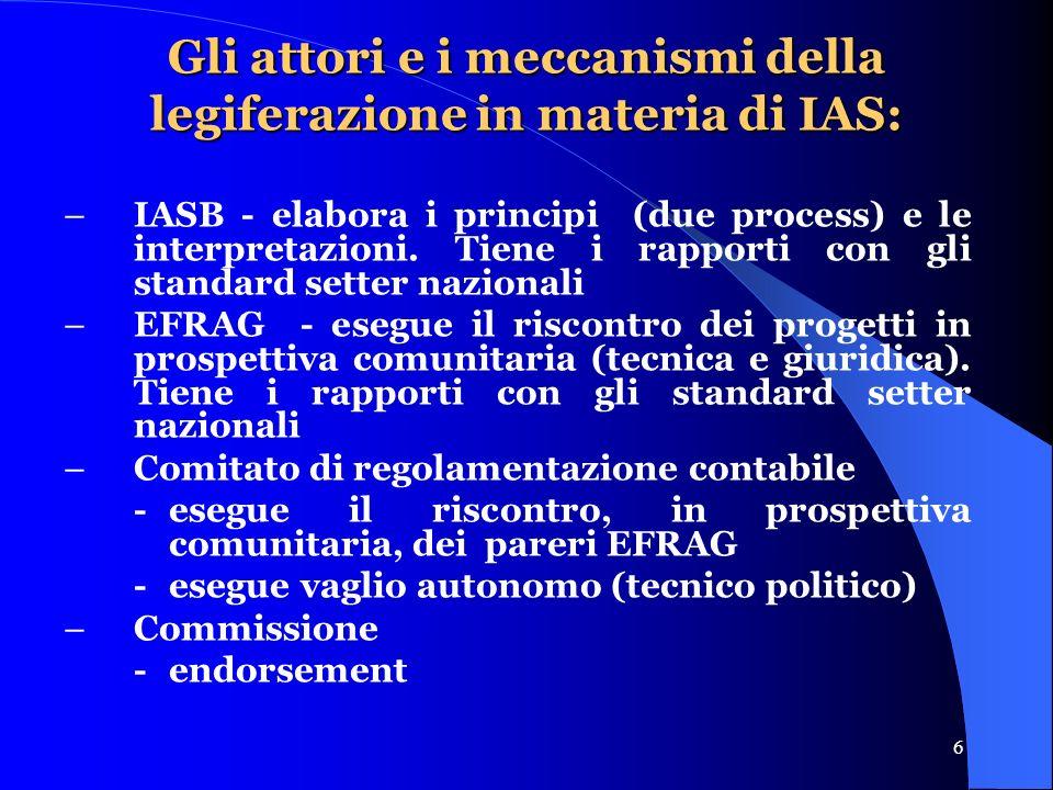 6 Gli attori e i meccanismi della legiferazione in materia di IAS: –IASB - elabora i principi (due process) e le interpretazioni.