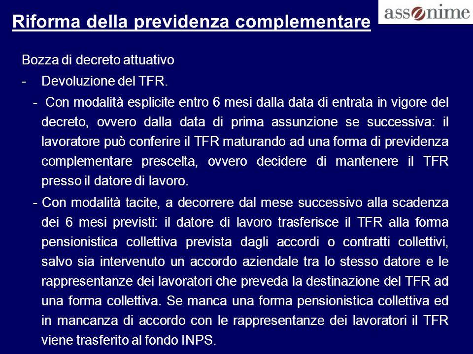 Riforma della previdenza complementare Bozza di decreto attuativo -Devoluzione del TFR. - Con modalità esplicite entro 6 mesi dalla data di entrata in