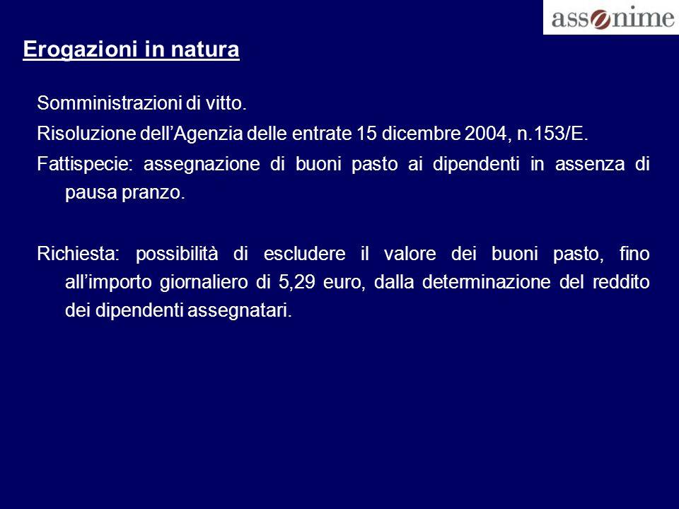 Erogazioni in natura Somministrazioni di vitto.