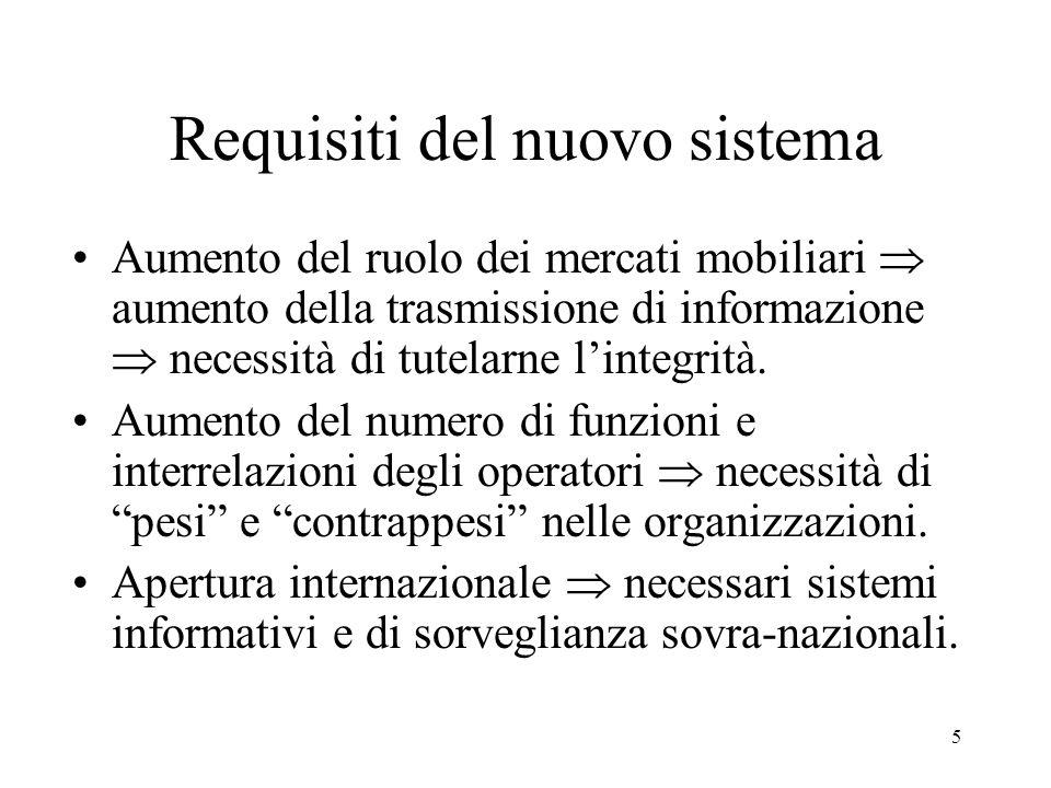5 Requisiti del nuovo sistema Aumento del ruolo dei mercati mobiliari aumento della trasmissione di informazione necessità di tutelarne lintegrità.