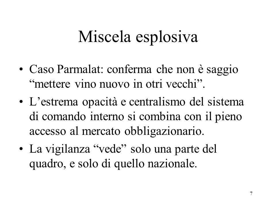7 Miscela esplosiva Caso Parmalat: conferma che non è saggio mettere vino nuovo in otri vecchi.
