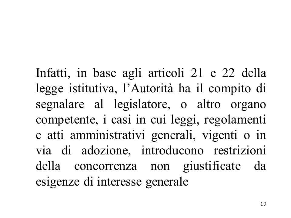 10 Infatti, in base agli articoli 21 e 22 della legge istitutiva, lAutorità ha il compito di segnalare al legislatore, o altro organo competente, i ca
