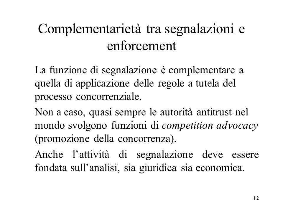 12 Complementarietà tra segnalazioni e enforcement La funzione di segnalazione è complementare a quella di applicazione delle regole a tutela del proc