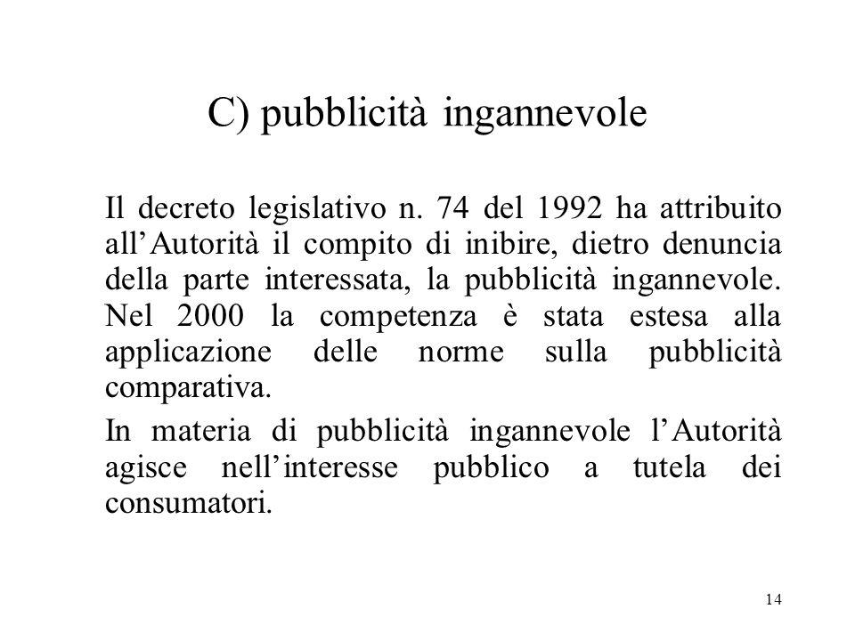 14 C) pubblicità ingannevole Il decreto legislativo n. 74 del 1992 ha attribuito allAutorità il compito di inibire, dietro denuncia della parte intere