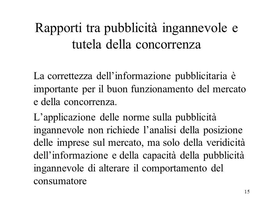 15 Rapporti tra pubblicità ingannevole e tutela della concorrenza La correttezza dellinformazione pubblicitaria è importante per il buon funzionamento
