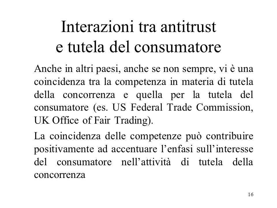 16 Interazioni tra antitrust e tutela del consumatore Anche in altri paesi, anche se non sempre, vi è una coincidenza tra la competenza in materia di