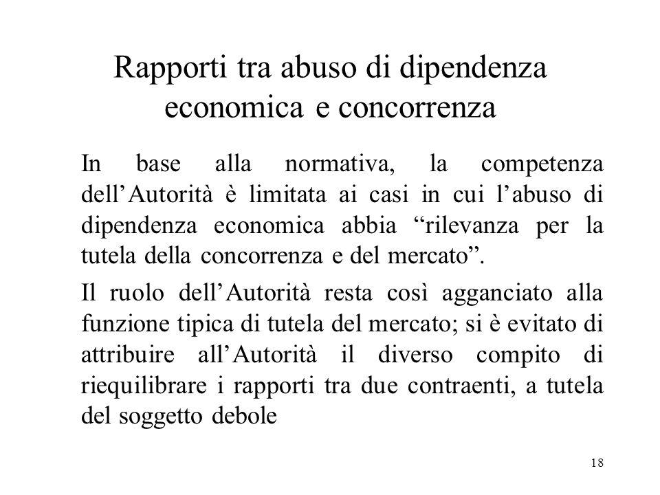18 Rapporti tra abuso di dipendenza economica e concorrenza In base alla normativa, la competenza dellAutorità è limitata ai casi in cui labuso di dip