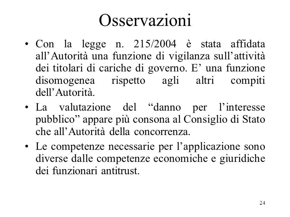 24 Osservazioni Con la legge n. 215/2004 è stata affidata allAutorità una funzione di vigilanza sullattività dei titolari di cariche di governo. E una