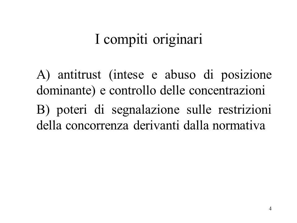4 I compiti originari A) antitrust (intese e abuso di posizione dominante) e controllo delle concentrazioni B) poteri di segnalazione sulle restrizion