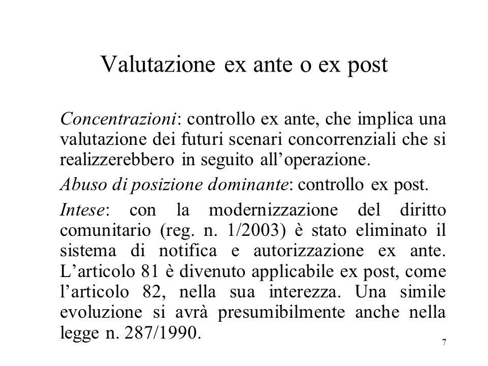 7 Valutazione ex ante o ex post Concentrazioni: controllo ex ante, che implica una valutazione dei futuri scenari concorrenziali che si realizzerebber