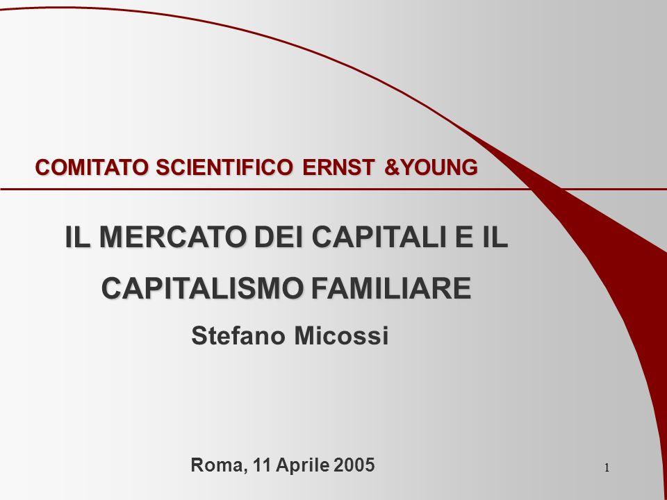1 COMITATO SCIENTIFICO ERNST &YOUNG IL MERCATO DEI CAPITALI E IL CAPITALISMO FAMILIARE Stefano Micossi Roma, 11 Aprile 2005