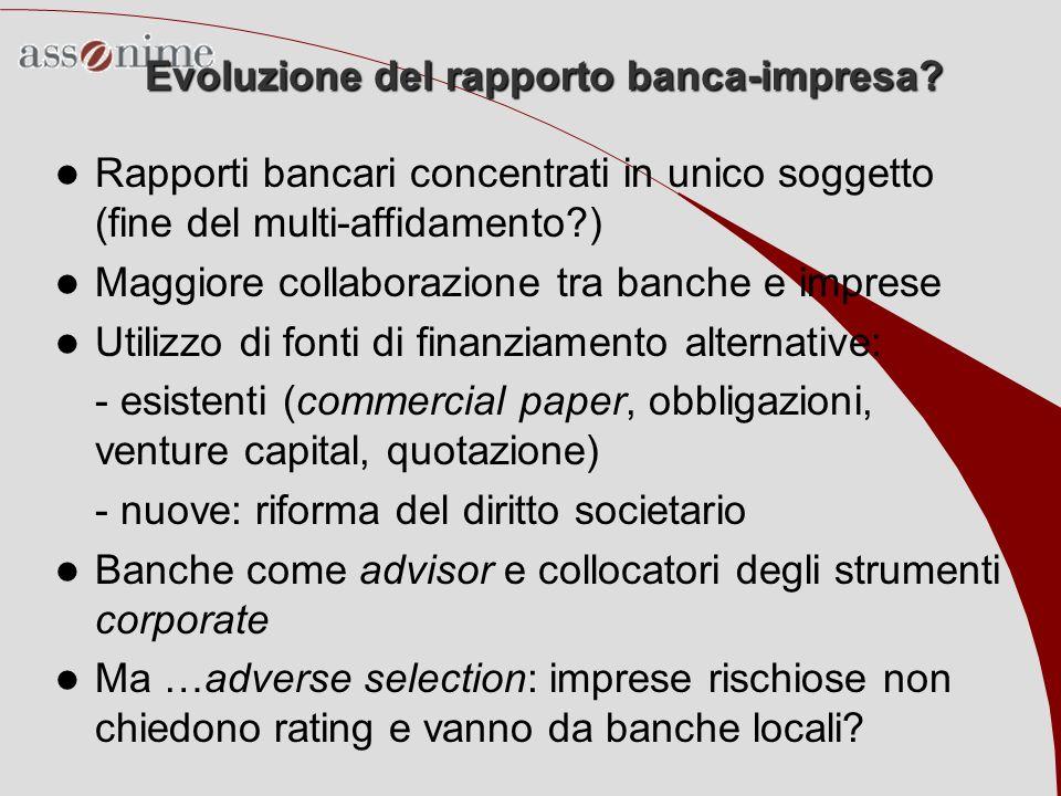 Evoluzione del rapporto banca-impresa? Rapporti bancari concentrati in unico soggetto (fine del multi-affidamento?) Maggiore collaborazione tra banche