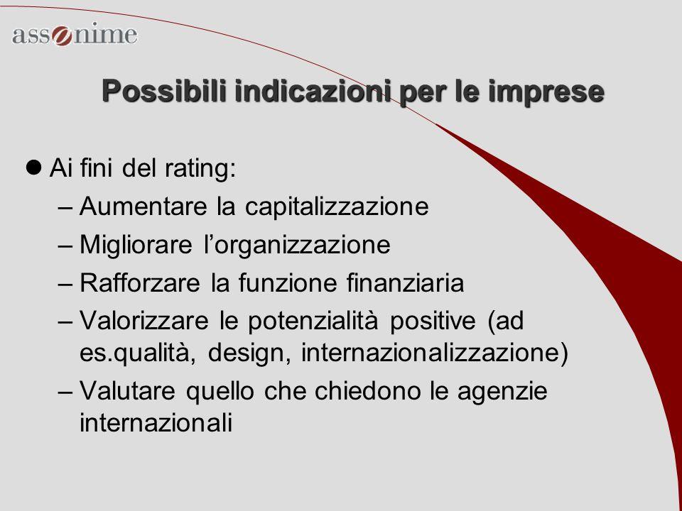 Possibili indicazioni per le imprese Ai fini del rating: –Aumentare la capitalizzazione –Migliorare lorganizzazione –Rafforzare la funzione finanziari