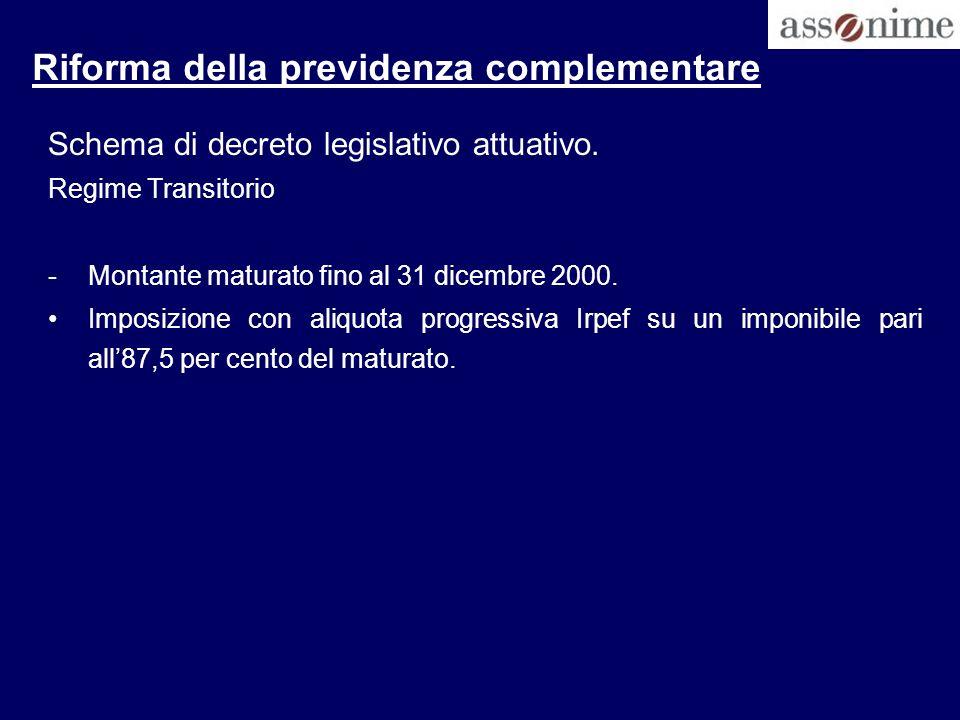 Riforma della previdenza complementare Schema di decreto legislativo attuativo. Regime Transitorio -Montante maturato fino al 31 dicembre 2000. Imposi