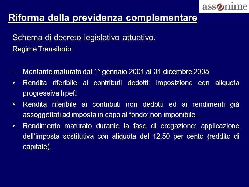 Riforma della previdenza complementare Schema di decreto legislativo attuativo. Regime Transitorio -Montante maturato dal 1° gennaio 2001 al 31 dicemb