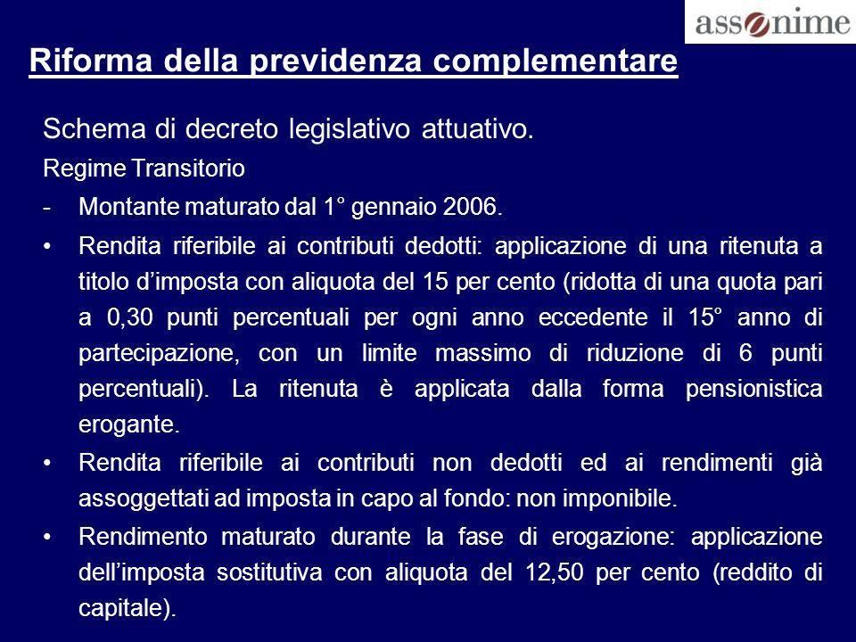Riforma della previdenza complementare Schema di decreto legislativo attuativo. Regime Transitorio -Montante maturato dal 1° gennaio 2006. Rendita rif