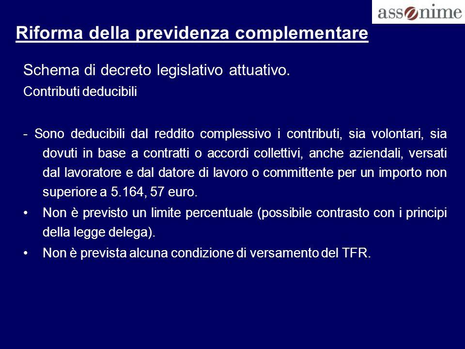 Riforma della previdenza complementare Schema di decreto legislativo attuativo. Contributi deducibili - Sono deducibili dal reddito complessivo i cont