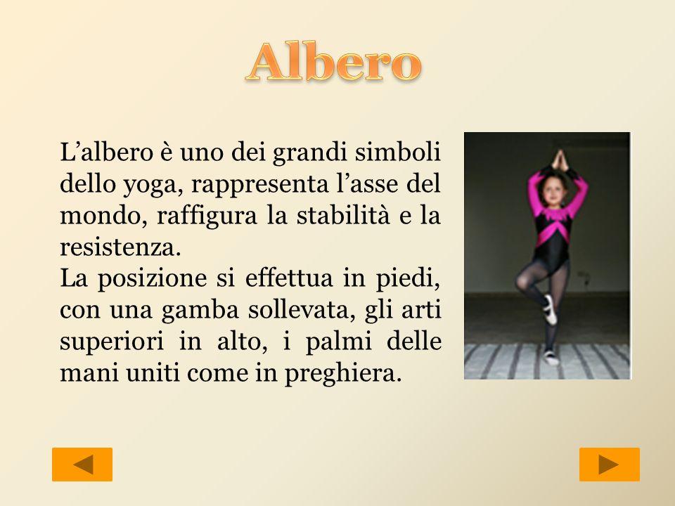 Lalbero è uno dei grandi simboli dello yoga, rappresenta lasse del mondo, raffigura la stabilità e la resistenza. La posizione si effettua in piedi, c