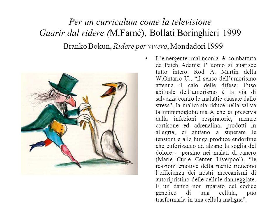 Per un curriculum come la televisione Guarir dal ridere (M.Farné), Bollati Boringhieri 1999 Lemergente malinconia è combattuta da Patch Adams: l uomo