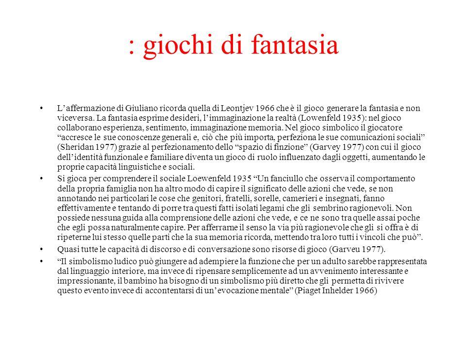 : giochi di fantasia Laffermazione di Giuliano ricorda quella di Leontjev 1966 che è il gioco generare la fantasia e non viceversa. La fantasia esprim
