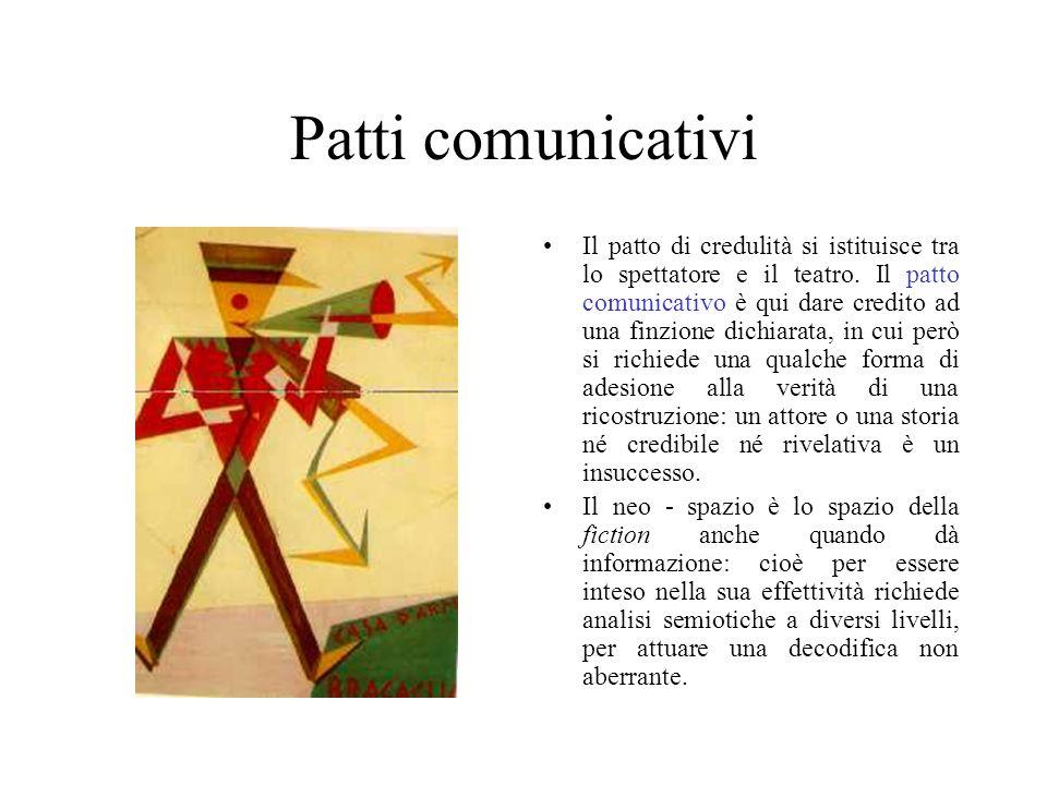 Patti comunicativi Il patto di credulità si istituisce tra lo spettatore e il teatro. Il patto comunicativo è qui dare credito ad una finzione dichiar
