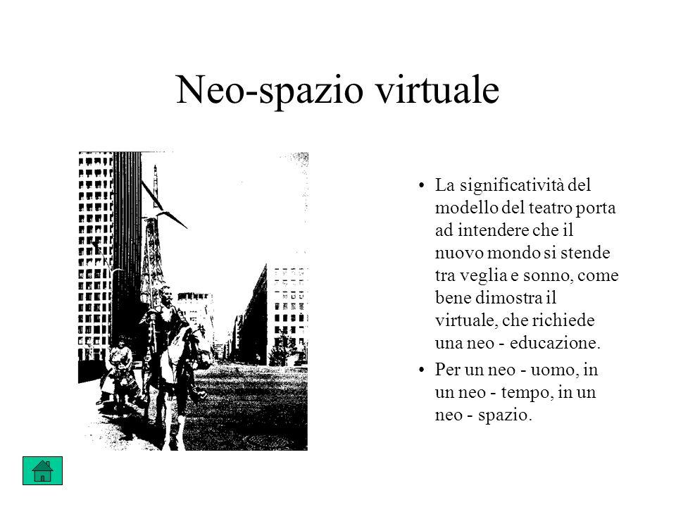 Neo-spazio virtuale La significatività del modello del teatro porta ad intendere che il nuovo mondo si stende tra veglia e sonno, come bene dimostra il virtuale, che richiede una neo - educazione.