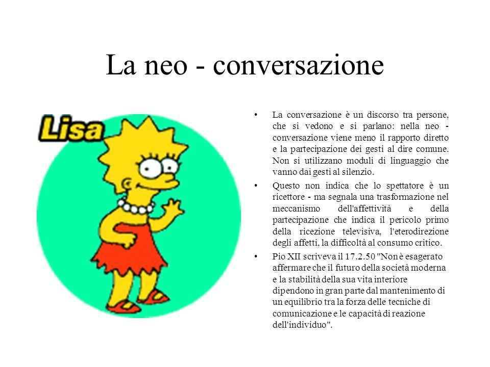 La neo - conversazione La conversazione è un discorso tra persone, che si vedono e si parlano: nella neo - conversazione viene meno il rapporto diretto e la partecipazione dei gesti al dire comune.