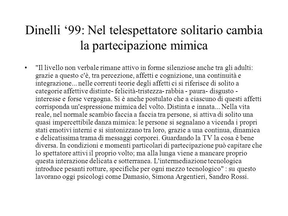 Dinelli 99: Nel telespettatore solitario cambia la partecipazione mimica Il livello non verbale rimane attivo in forme silenziose anche tra gli adulti: grazie a questo c è, tra percezione, affetti e cognizione, una continuità e integrazione...