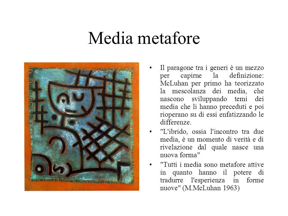 Media metafore Il paragone tra i generi è un mezzo per capirne la definizione: McLuhan per primo ha teorizzato la mescolanza dei media, che nascono sviluppando temi dei media che li hanno preceduti e poi rioperano su di essi enfatizzando le differenze.