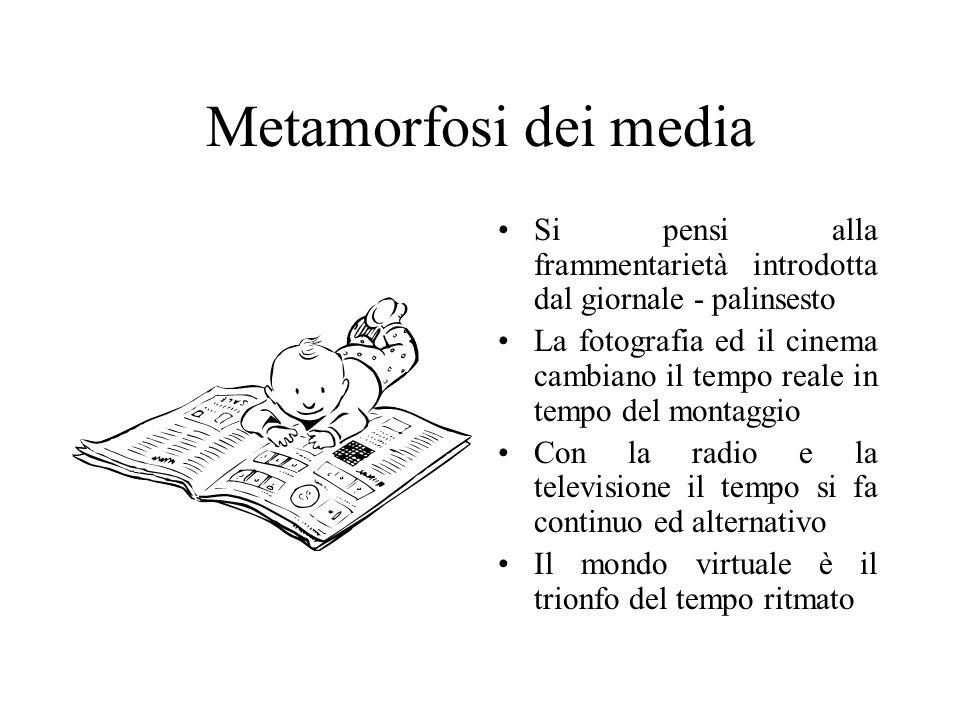 Metamorfosi dei media Si pensi alla frammentarietà introdotta dal giornale - palinsesto La fotografia ed il cinema cambiano il tempo reale in tempo del montaggio Con la radio e la televisione il tempo si fa continuo ed alternativo Il mondo virtuale è il trionfo del tempo ritmato