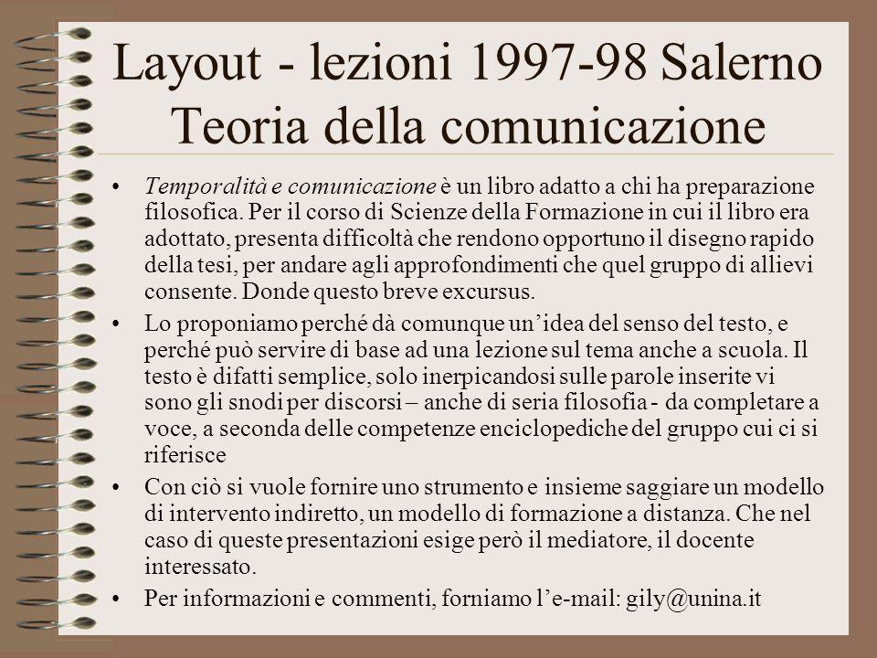 Layout - lezioni 1997-98 Salerno Teoria della comunicazione Temporalità e comunicazione è un libro adatto a chi ha preparazione filosofica.