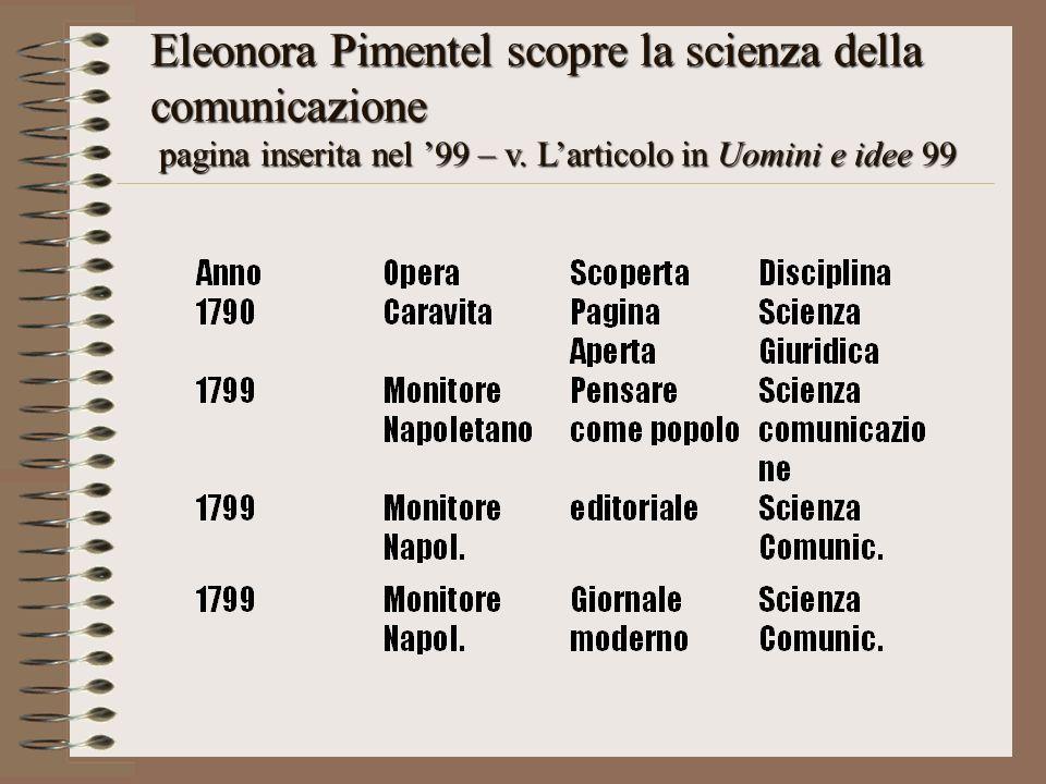 Eleonora Pimentel scopre la scienza della comunicazione pagina inserita nel 99 – v. Larticolo in Uomini e idee 99 pagina inserita nel 99 – v. Larticol