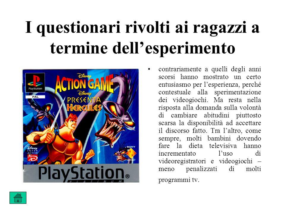 I questionari rivolti ai ragazzi a termine dellesperimento contrariamente a quelli degli anni scorsi hanno mostrato un certo entusiasmo per lesperienza, perché contestuale alla sperimentazione dei videogiochi.