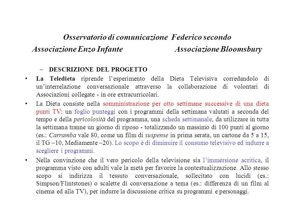 Sperimentazione autunno 1998 Volontari delle Associazioni E.Infante e Bloomsbury hanno operato con 800 bambini di sei scuole elementari della periferia orientale di Napoli (circoli 47°, 44, 68°, 77°, 83°, 88°) e due di Napoli (40°, Suor Orsola), applicandovi la Teledieta o la Dieta Televisiva.