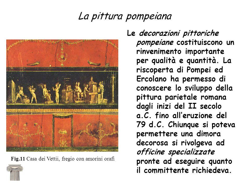 La pittura pompeiana Le decorazioni pittoriche pompeiane costituiscono un rinvenimento importante per qualità e quantità.