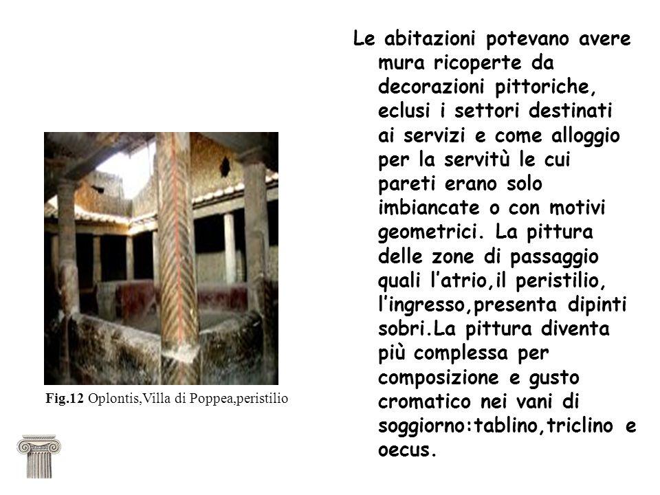 Le abitazioni potevano avere mura ricoperte da decorazioni pittoriche, eclusi i settori destinati ai servizi e come alloggio per la servitù le cui pareti erano solo imbiancate o con motivi geometrici.