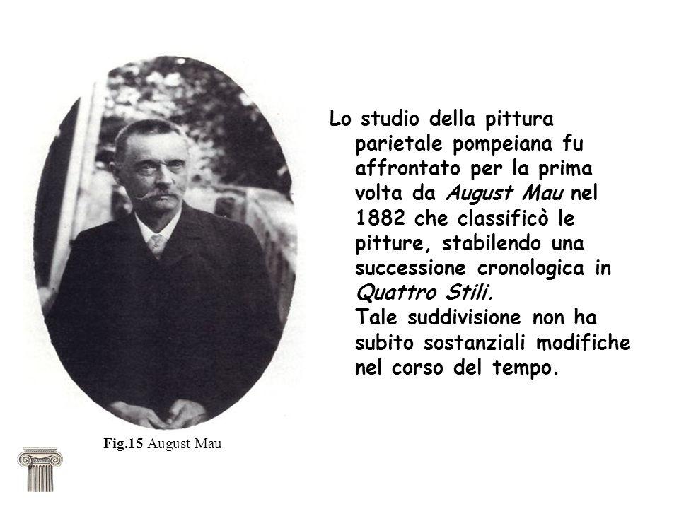 Lo studio della pittura parietale pompeiana fu affrontato per la prima volta da August Mau nel 1882 che classificò le pitture, stabilendo una successione cronologica in Quattro Stili.