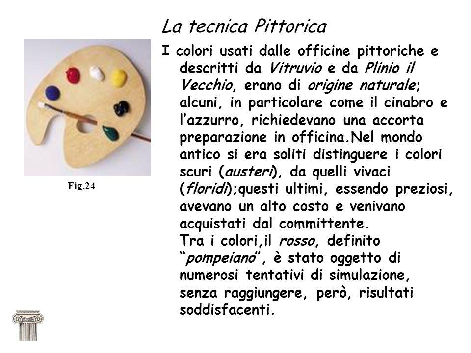 La tecnica Pittorica I colori usati dalle officine pittoriche e descritti da Vitruvio e da Plinio il Vecchio, erano di origine naturale; alcuni, in pa