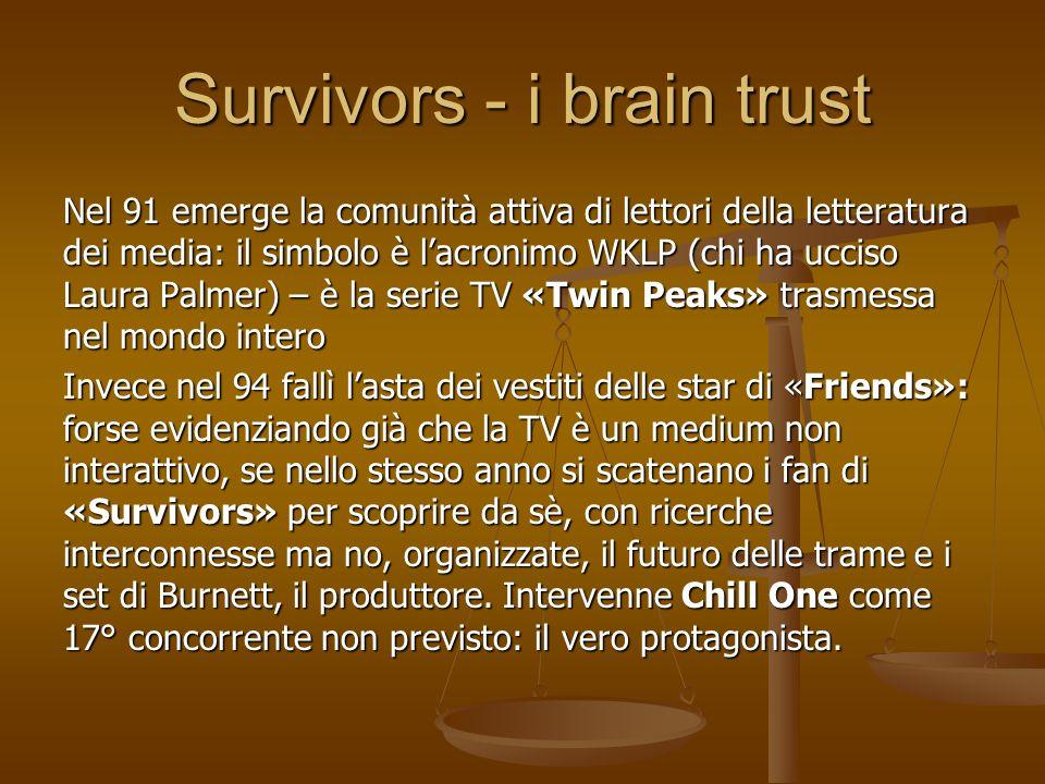 Survivors - i brain trust Nel 91 emerge la comunità attiva di lettori della letteratura dei media: il simbolo è lacronimo WKLP (chi ha ucciso Laura Pa