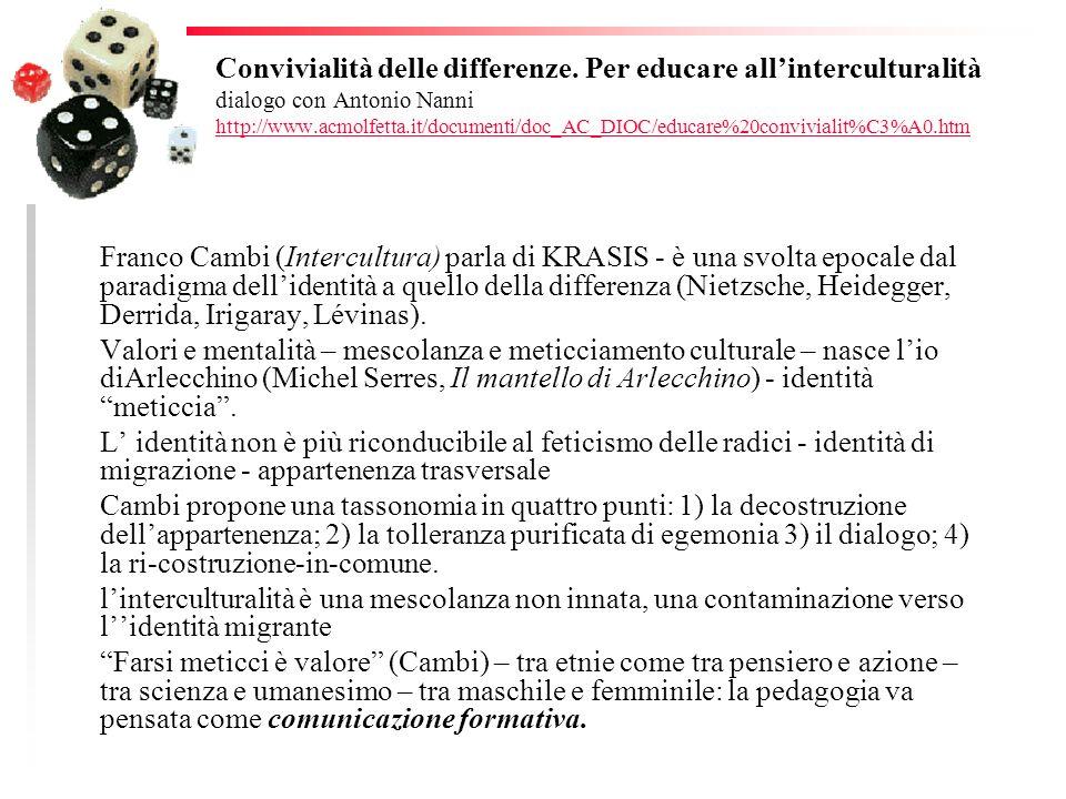 Convivialità delle differenze. Per educare allinterculturalità dialogo con Antonio Nanni http://www.acmolfetta.it/documenti/doc_AC_DIOC/educare%20conv